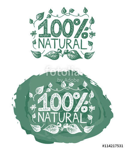 417x500 Green Vintage Vector 100% Natural Logo Set With Two Vintage 100