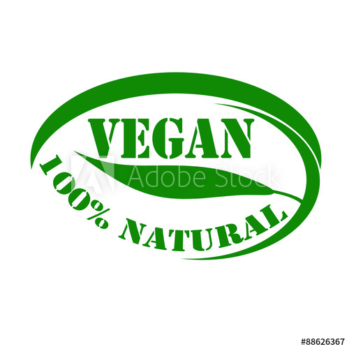 500x500 Green Stamp With Text Vegan 100% Natural,vector Illustration