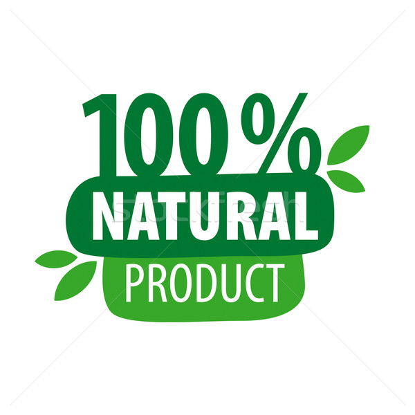 600x600 Green Vector Logo For 100% Natural Products Vector Illustration