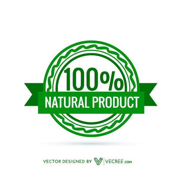 600x600 Premium 100% Natural Product Badge Free Vector