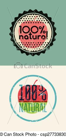 225x470 Set Of Two Labels 100% Natural. Grunge Rubber Stamp For 100
