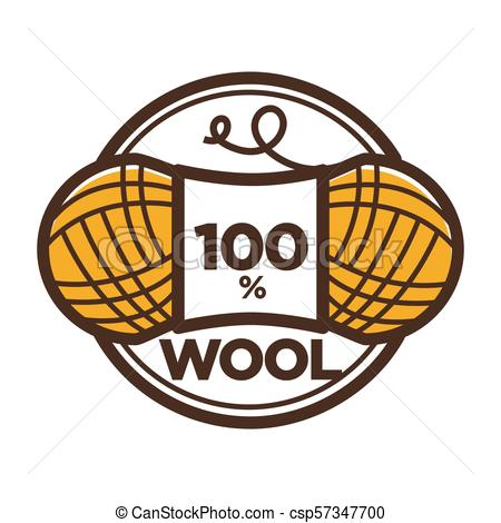 450x470 Wool Clew Vector Label 100 Percent Natural. Wool Clew For 100
