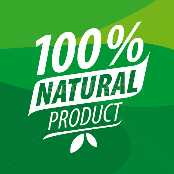 600x600 Vector Logo For 100% Natural Products Vector Illustration