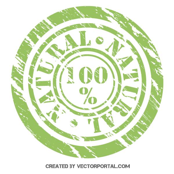 600x600 100% Natural Stamp Vector Illustrator 123freevectors