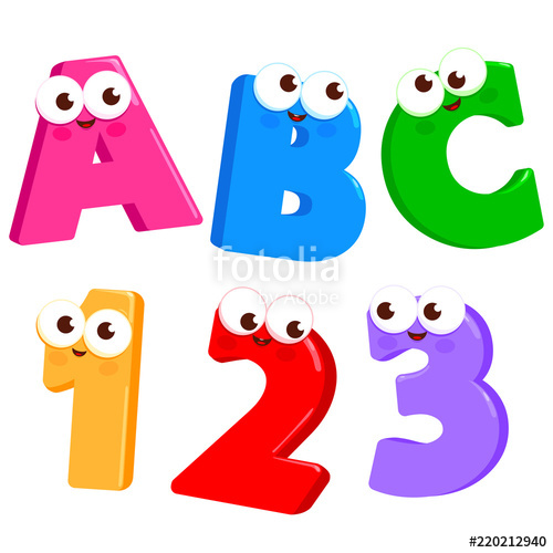 500x500 Cartoon Letters Abc And Numbers 123 With Cute And Funny Faces
