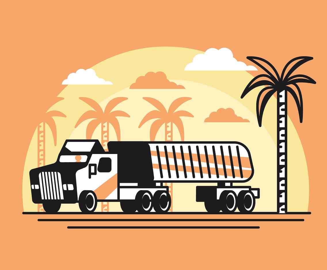 1136x936 18 Wheeler Vector In Orange Background Vector Art Amp Graphics
