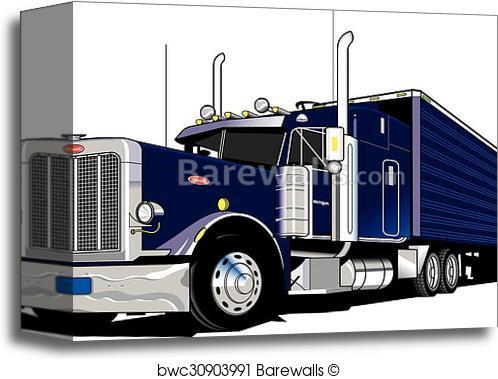 498x379 Canvas Print Of 18 Wheeler Semi Truck Barewalls Posters Amp Prints