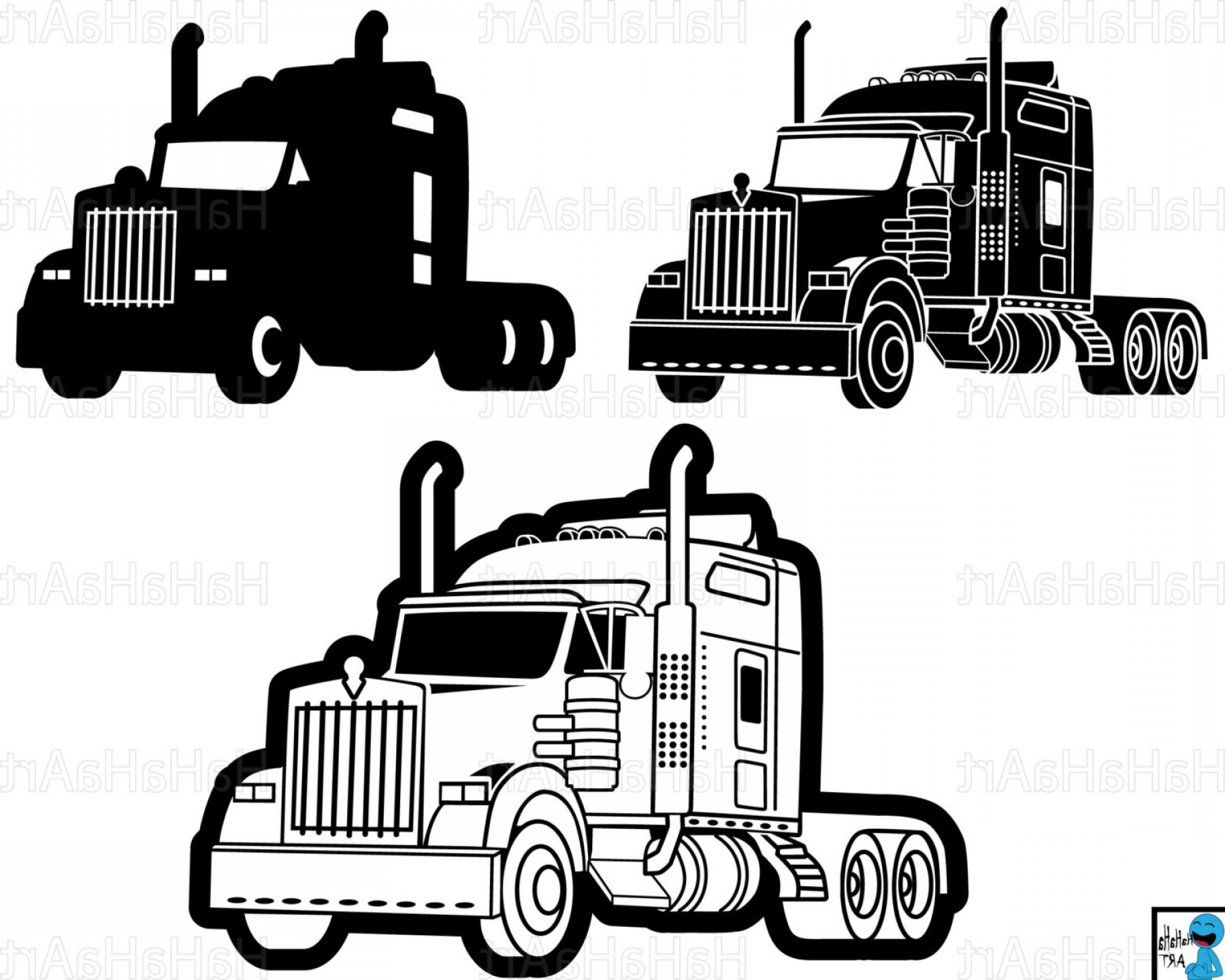 1800x1440 Cool And Opulent Wheeler Clipart Truck Trucker Free Vector Graphic
