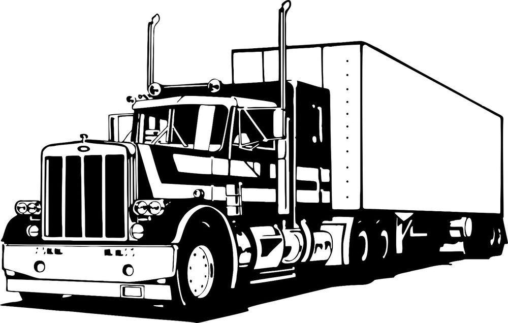 1000x636 18 Wheeler Semi Big Rig Trailer Car Truck Driver Window Vinyl