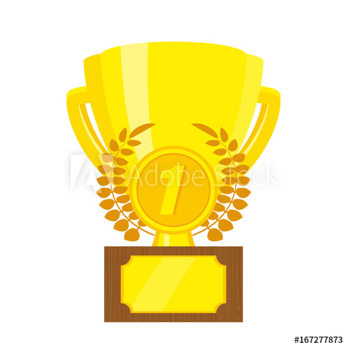 500x500 Trophy Gold Cup. Championship Cup 1st Place. Vector Illustration
