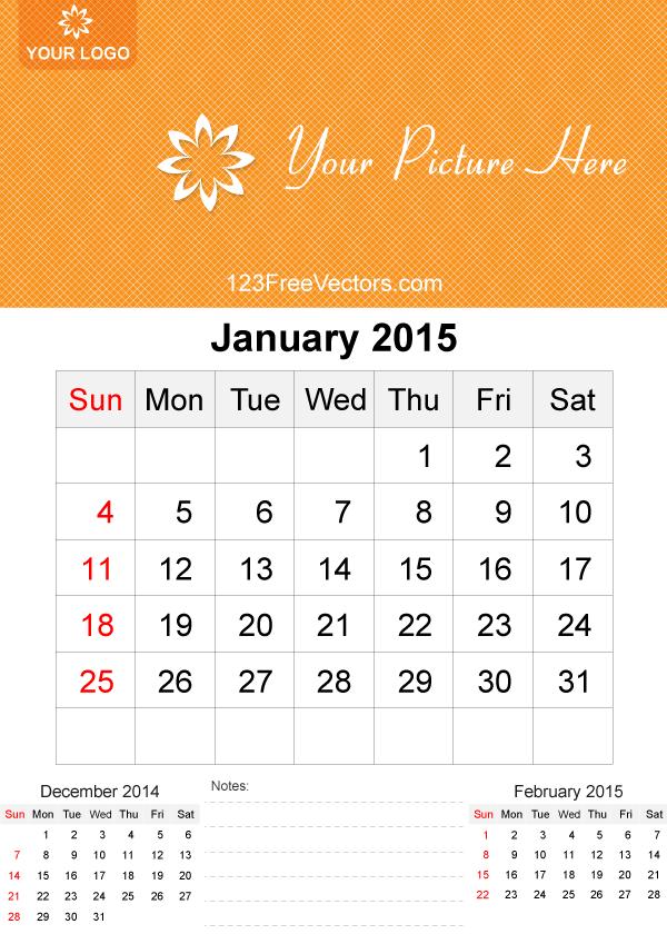 600x849 January 2015 Calendar Template Vector Free 2015