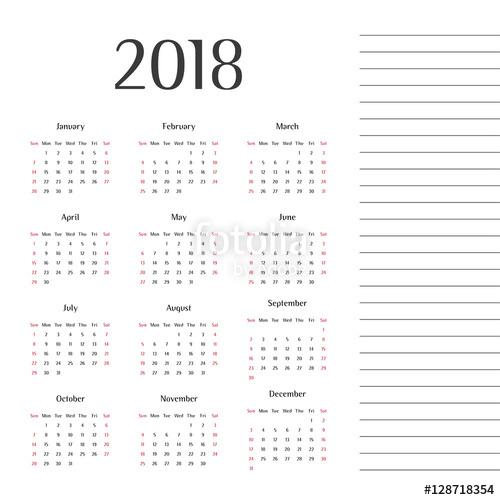 500x500 Calendar 2018. Twelve Months. Year 2018. Calendar Design. Modern