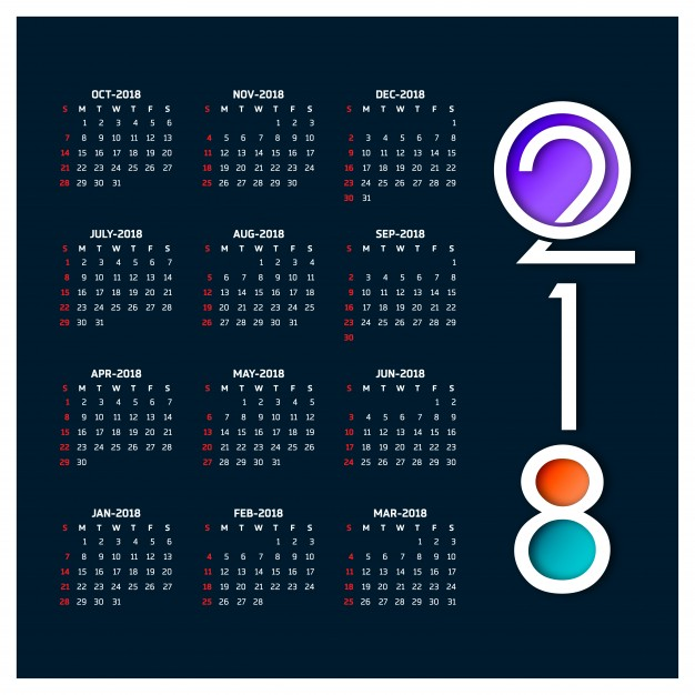 626x626 Calendar For 2018 Vector Free Download