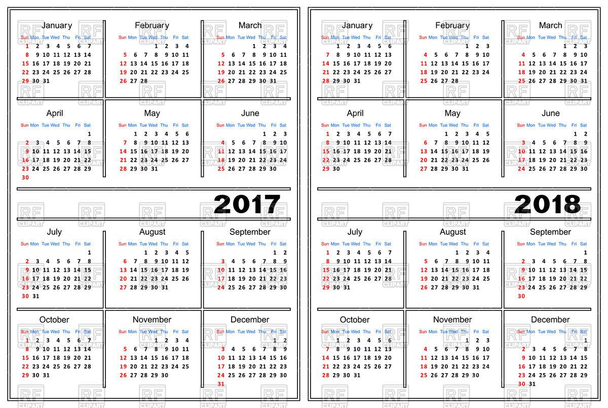 1200x806 Calendar Template 2017 And 2018 Vector Image Vector Artwork Of