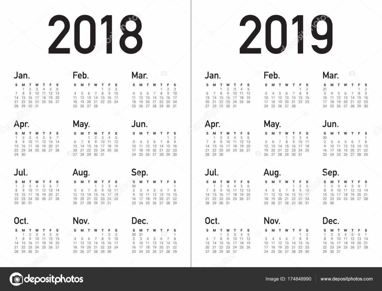 1500x1144 Depositphotos 174848990 Stock Illustration Year 2018 2019 Calendar
