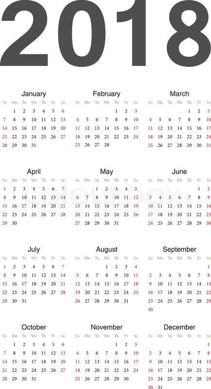 435x800 European 2018 Year Vector Calendar Stock Vector Colourbox