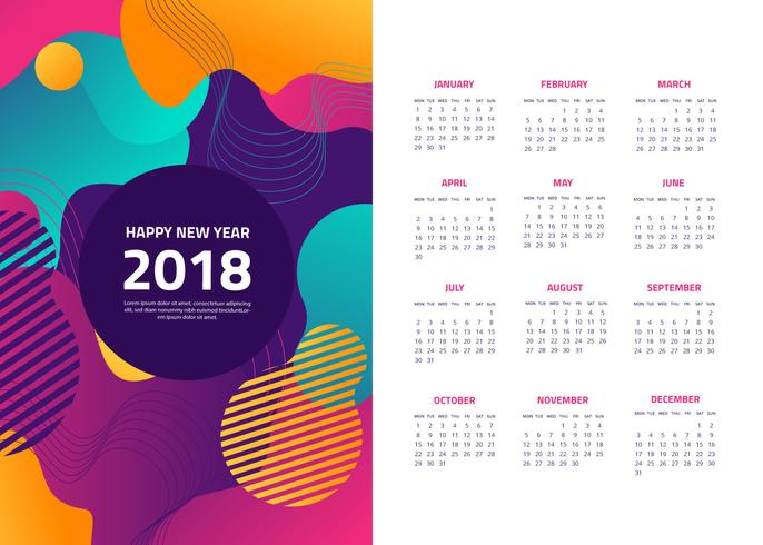 686x490 Free Abstract 2018 Calendar Vector