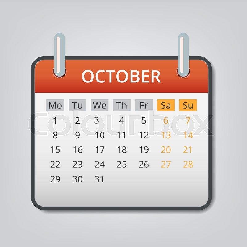 800x800 October 2018 Calendar Concept Background. Cartoon Illustration Of