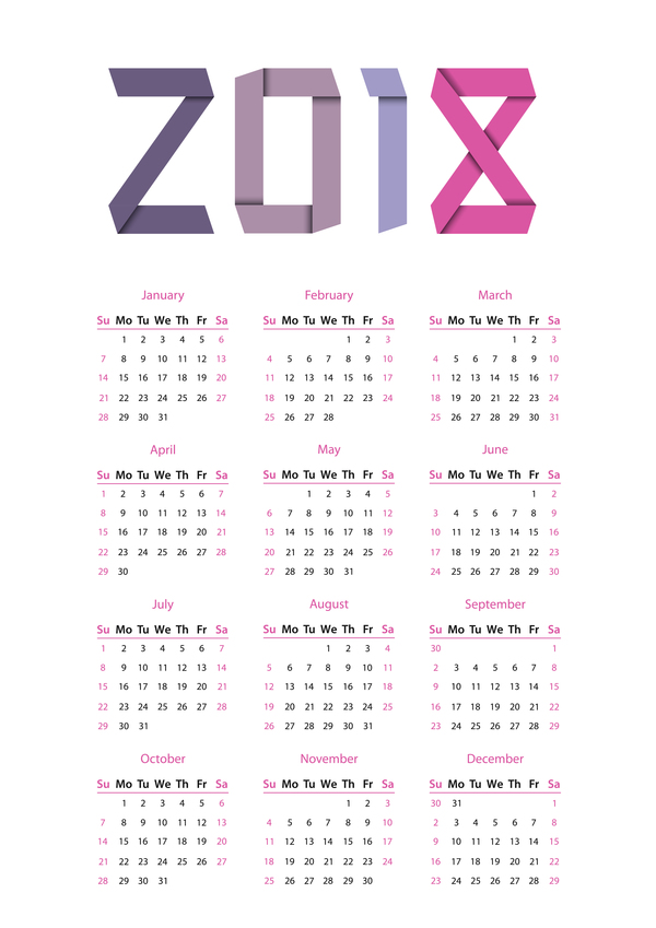 600x849 Simple Calendar 2018 Vector Material 02 Free Download