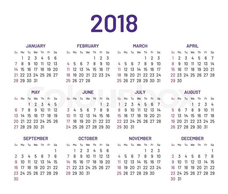 800x680 Simple Wall Calendar 2018 Year, Flat, Isolated. Plain Annual Chart