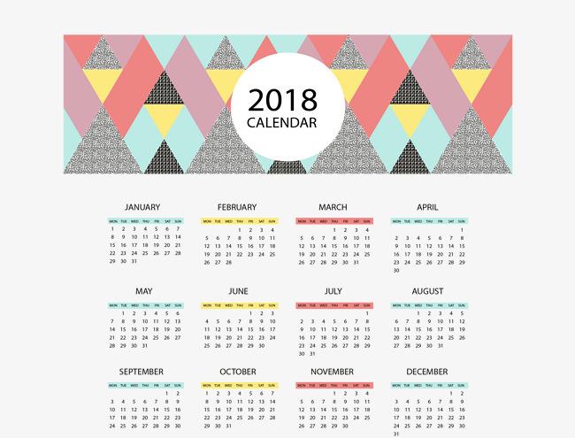 650x495 Triangle Puzzle 2018 Calendar, Vector Material, 2018 Calendar