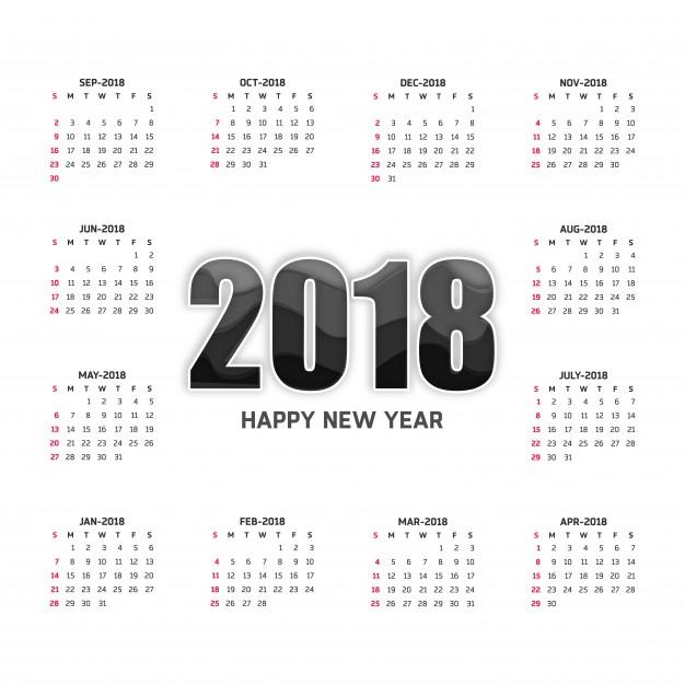 626x626 White 2018 Calendar Vector Free Download