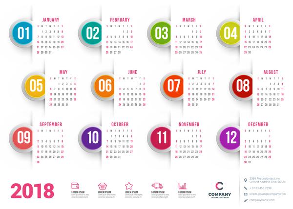 600x429 White 2018 Company Calendar Vectors