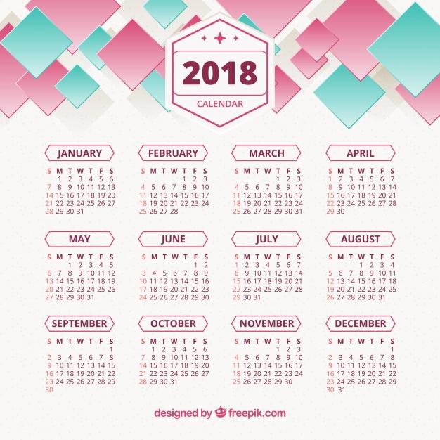 626x626 2018 Abstract Calendar Vector Free Download