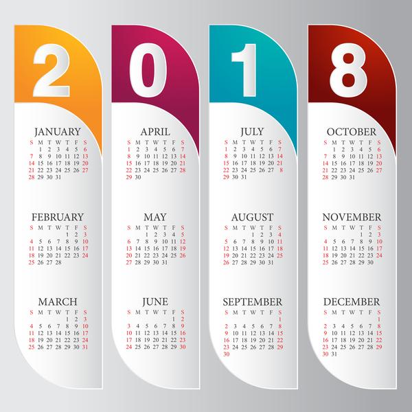 600x600 Vertical Calendar 2018 Card Vector Free Download