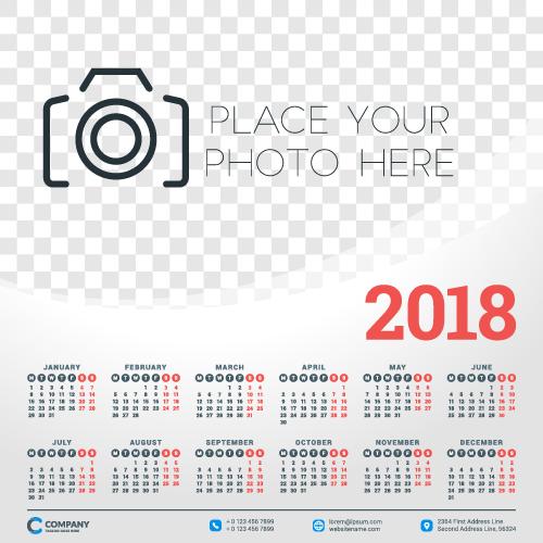 500x500 2018 Business Calendar Template Vectors 05 Free Download