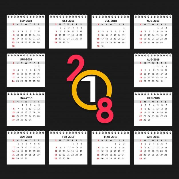 626x626 2018 Calendar Vector Free Download
