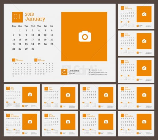 550x488 2018 Calendar Vector Cdr Ai Eps Free Download