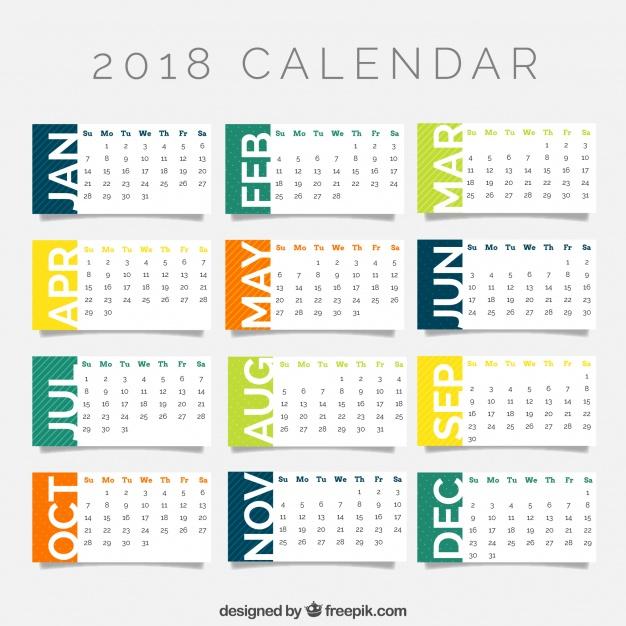626x626 2018 Calendar Template Vector Free Download