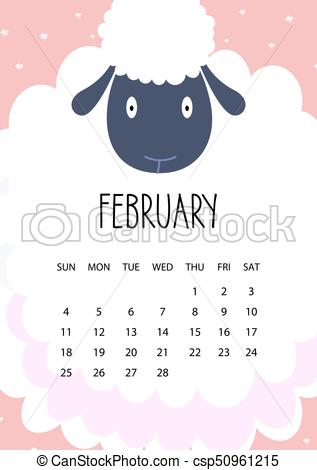 317x470 Cute Month Calendar Design For 2018 Year. February. A4 Format