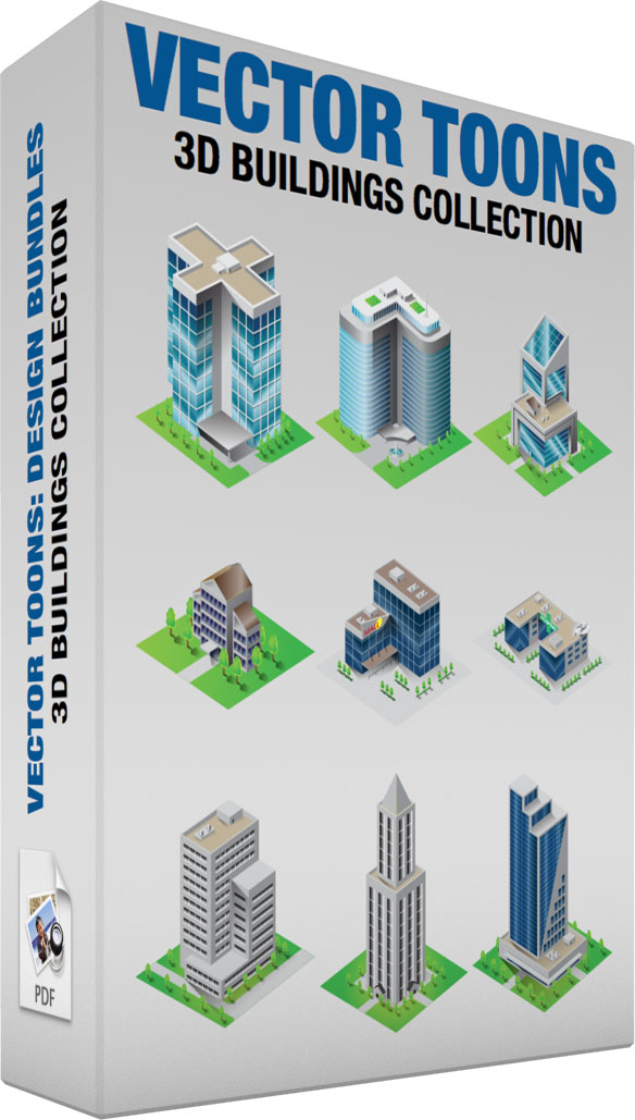 584x1029 3d Buildings Collection Clipart By Vector Toons