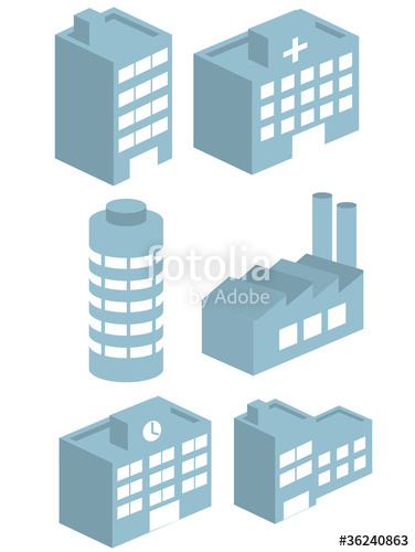 376x500 3d Building Icons Set Vector Stock Image And Royalty Free Vector
