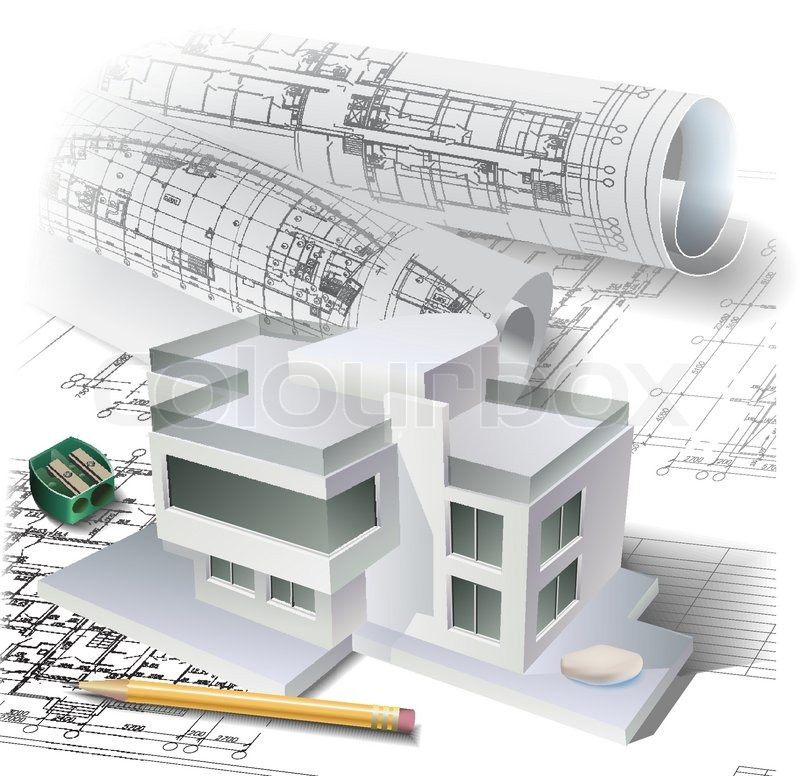 800x776 Architectural Background With A 3d Building Model And Rolls Of