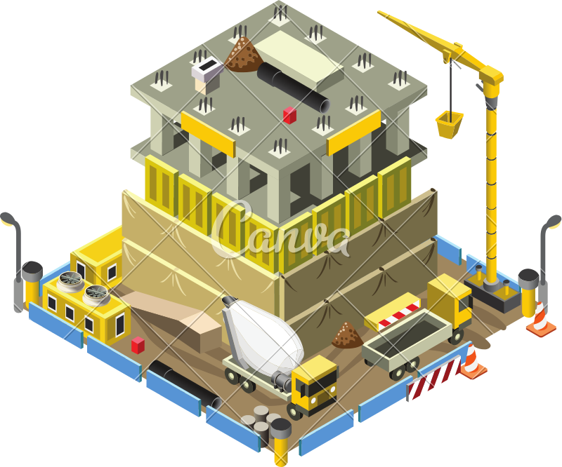 800x666 Building Under Construction 3d Building Isometric Vector