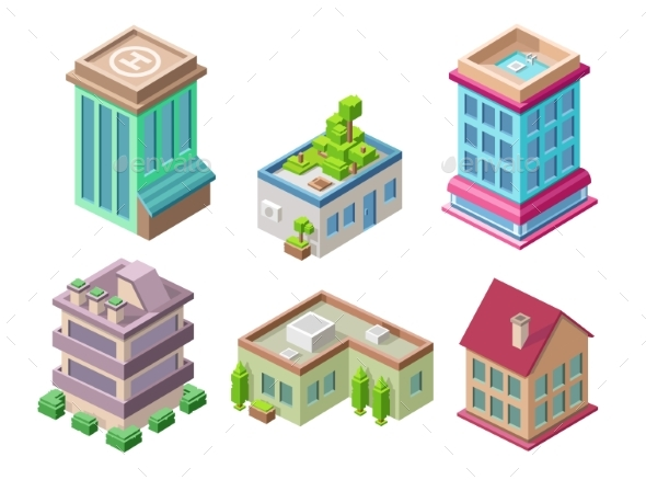 590x438 Isometric 3d Buildings And City Houses Vector By Vectorpouch