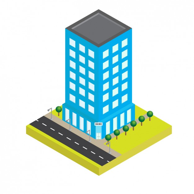 626x626 Isometric Blue Building Vector Free Download