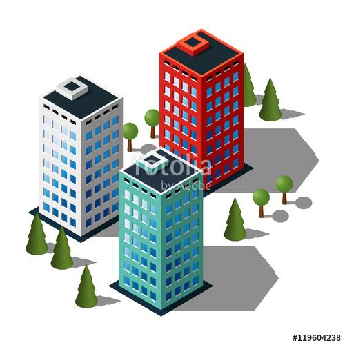 500x500 Isometric Buildings Illustration Set. 3d Buildings Icon. Stock
