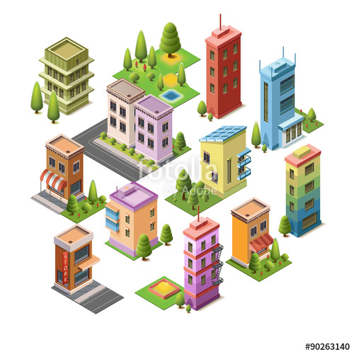 500x500 Isometric Concept Buildings, House, Hotel, Shop, Roads, And Parks
