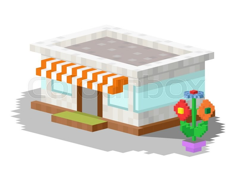 800x584 Shop Market Building Vector Illustration. 3d Shop Store Building