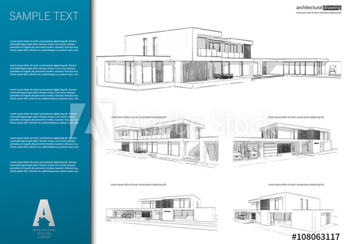 500x354 Wireframe Blueprint Drawing Of 3d Building. Vector Architectural