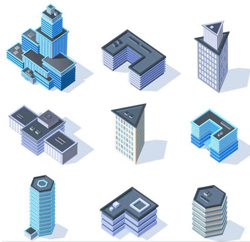 498x481 3d Buildings Set 2 Ai Format Free Vector Download