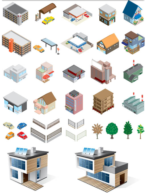 515x675 3d Houses Vector Graphic 2 Ai Format Free Vector Download