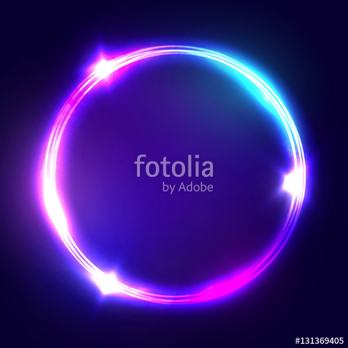 500x500 Neon Sign. Round Frame With Glowing And Light. Electric Bright 3d