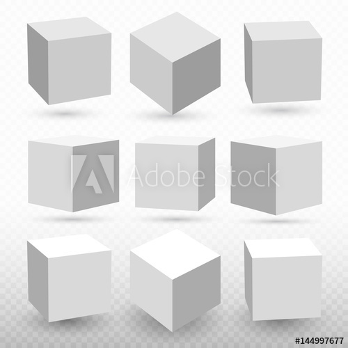 500x500 Cube Icon Set With Perspective 3d Model Of A Cube. Vector
