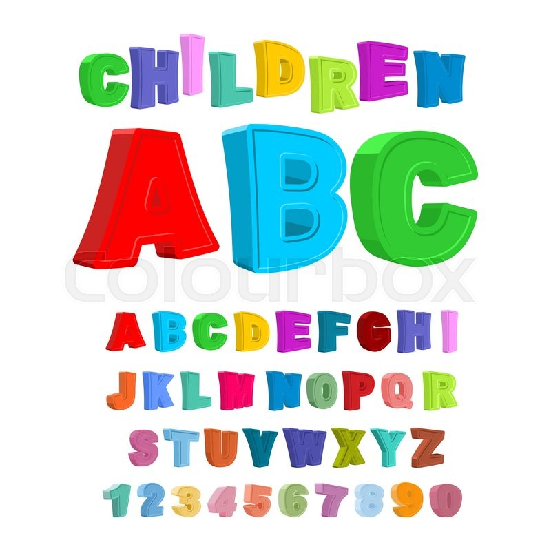 800x800 Children Abc. Large Letters In Kids Style. Babies Alphabet. 3d
