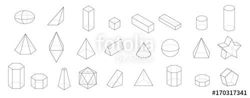 500x196 Set Of Basic 3d Geometric Shapes. Geometric Solids Vector